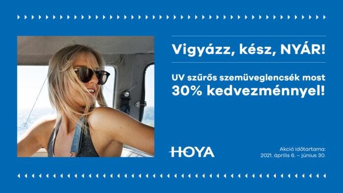 Hoya fényresötétedő és napszemüveglencsék 30% kedvezménnyel!